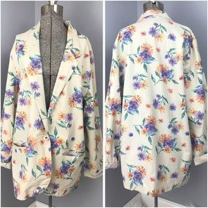 [Vintage] Floral Print Blazer with Pockets Medium